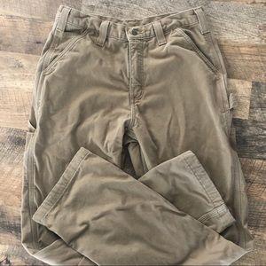 31 x 34 Carhartt Tan Flannel Lined Cargo Pants